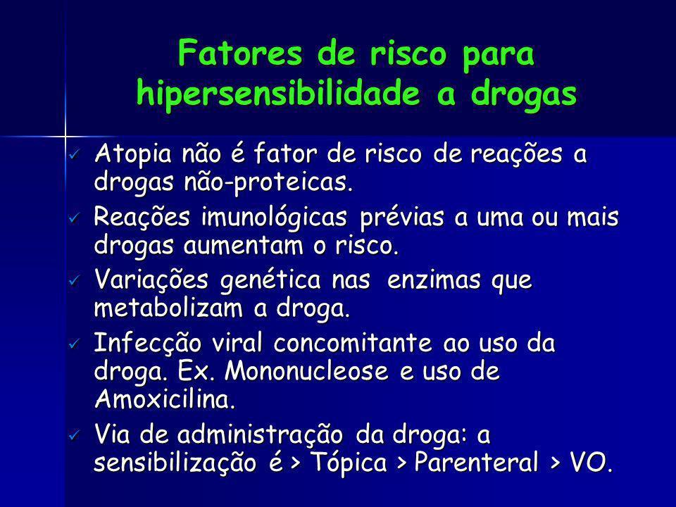 Fatores de risco para hipersensibilidade a drogas Atopia não é fator de risco de reações a drogas não-proteicas. Atopia não é fator de risco de reaçõe