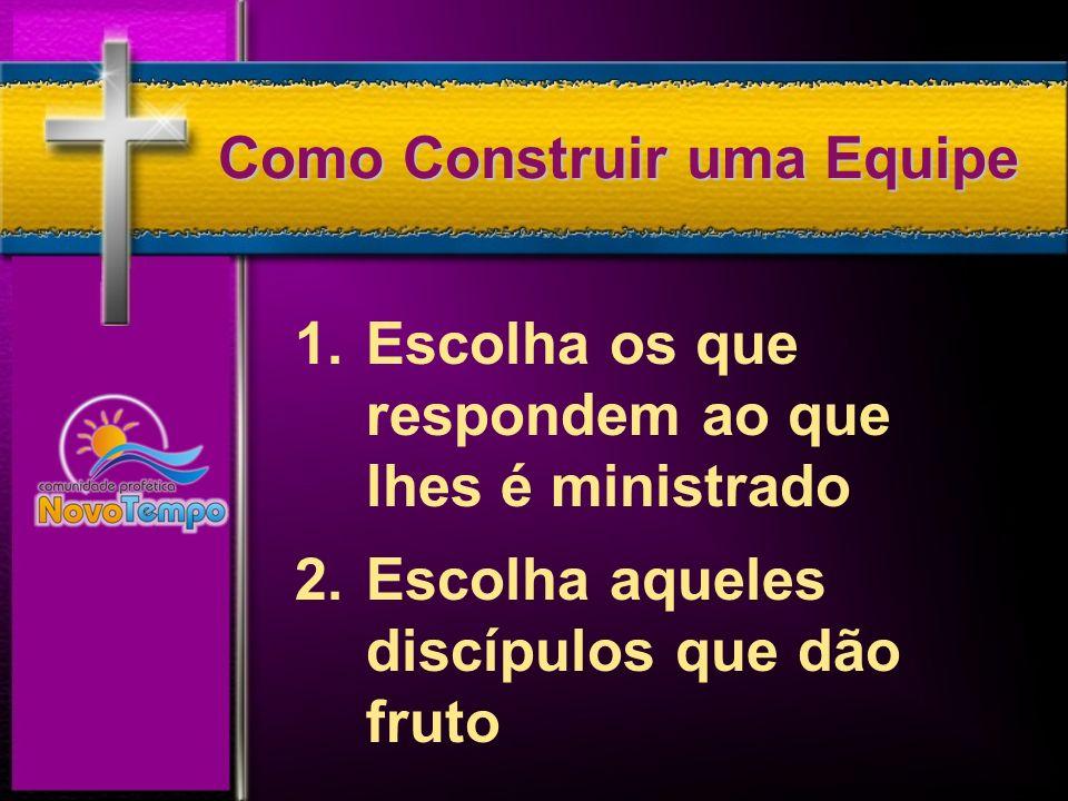 Escolha aqueles discípulos que dão fruto A consolidação eficaz vai fazer com que seu discípulo dê fruto.