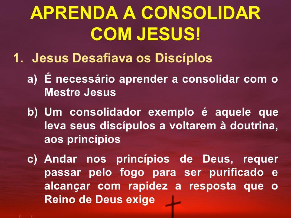 APRENDA A CONSOLIDAR COM JESUS! 1. Jesus Desafiava os Discíplos a)É necessário aprender a consolidar com o Mestre Jesus b)Um consolidador exemplo é aq