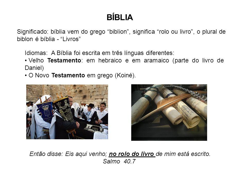 Idiomas: A Bíblia foi escrita em três línguas diferentes: Velho Testamento: em hebraico e em aramaico (parte do livro de Daniel) O Novo Testamento em