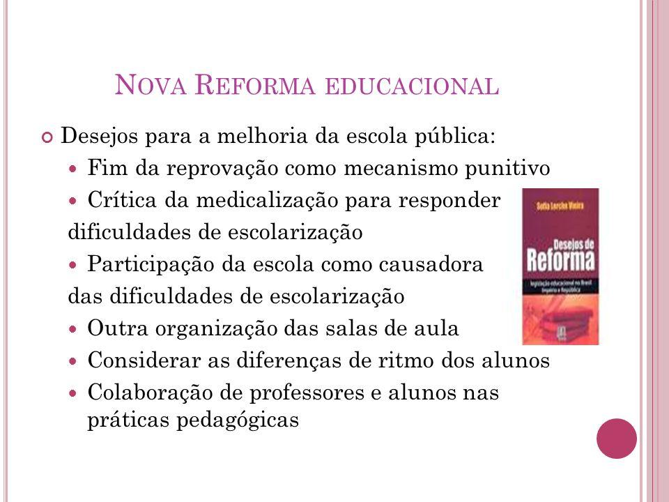 N OVA R EFORMA EDUCACIONAL Desejos para a melhoria da escola pública: Fim da reprovação como mecanismo punitivo Crítica da medicalização para responde