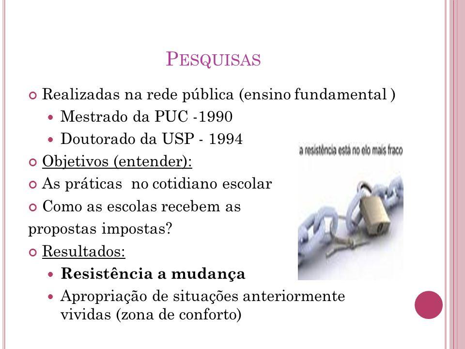 P ESQUISAS Realizadas na rede pública (ensino fundamental ) Mestrado da PUC -1990 Doutorado da USP - 1994 Objetivos (entender): As práticas no cotidia