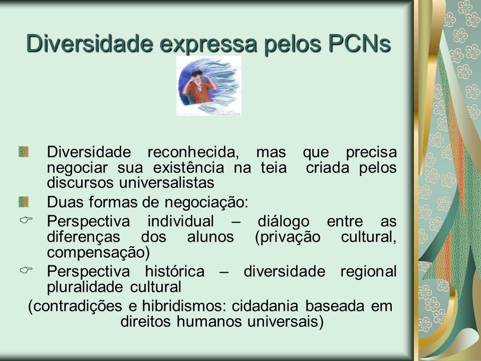 Diversidade expressa pelos PCNs Diversidade reconhecida, mas que precisa negociar sua existência na teia criada pelos discursos universalistas Duas fo