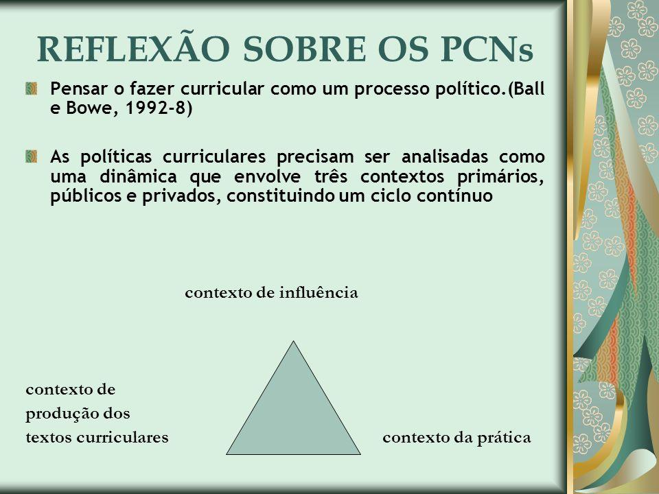 REFLEXÃO SOBRE OS PCNs Pensar o fazer curricular como um processo político.(Ball e Bowe, 1992-8) As políticas curriculares precisam ser analisadas com