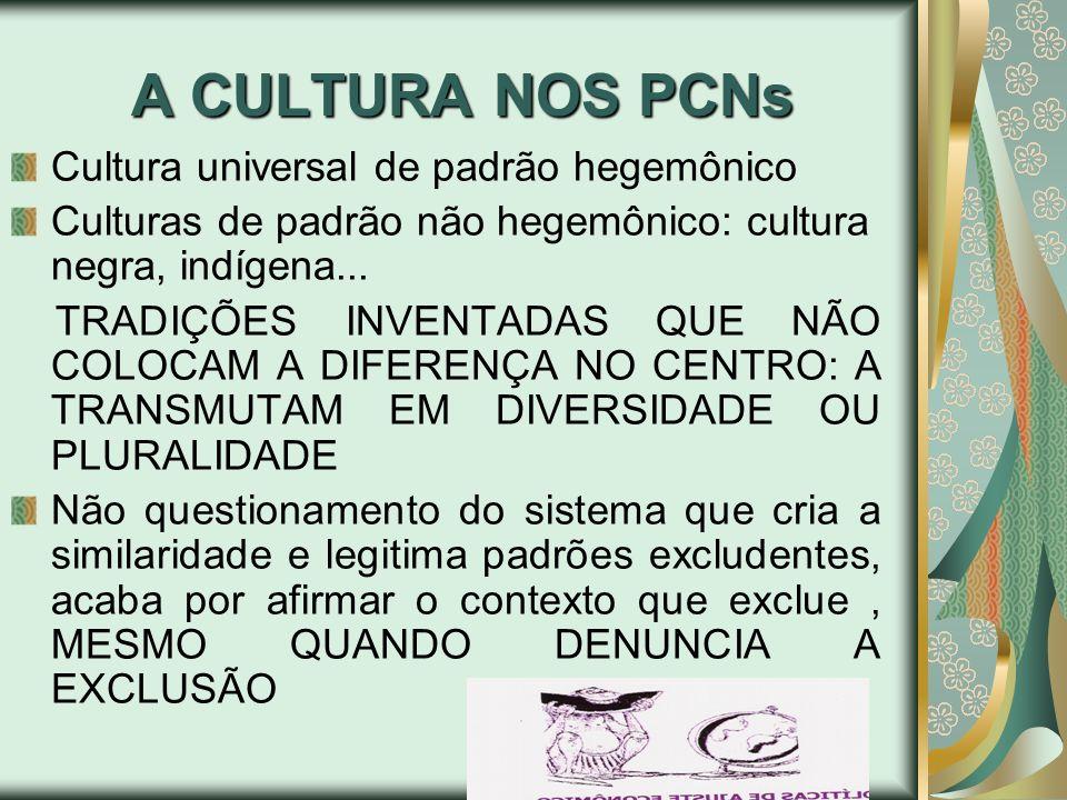 A CULTURA NOS PCNs Cultura universal de padrão hegemônico Culturas de padrão não hegemônico: cultura negra, indígena... TRADIÇÕES INVENTADAS QUE NÃO C