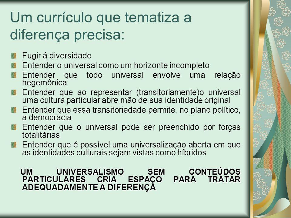 Um currículo que tematiza a diferença precisa: Fugir á diversidade Entender o universal como um horizonte incompleto Entender que todo universal envol