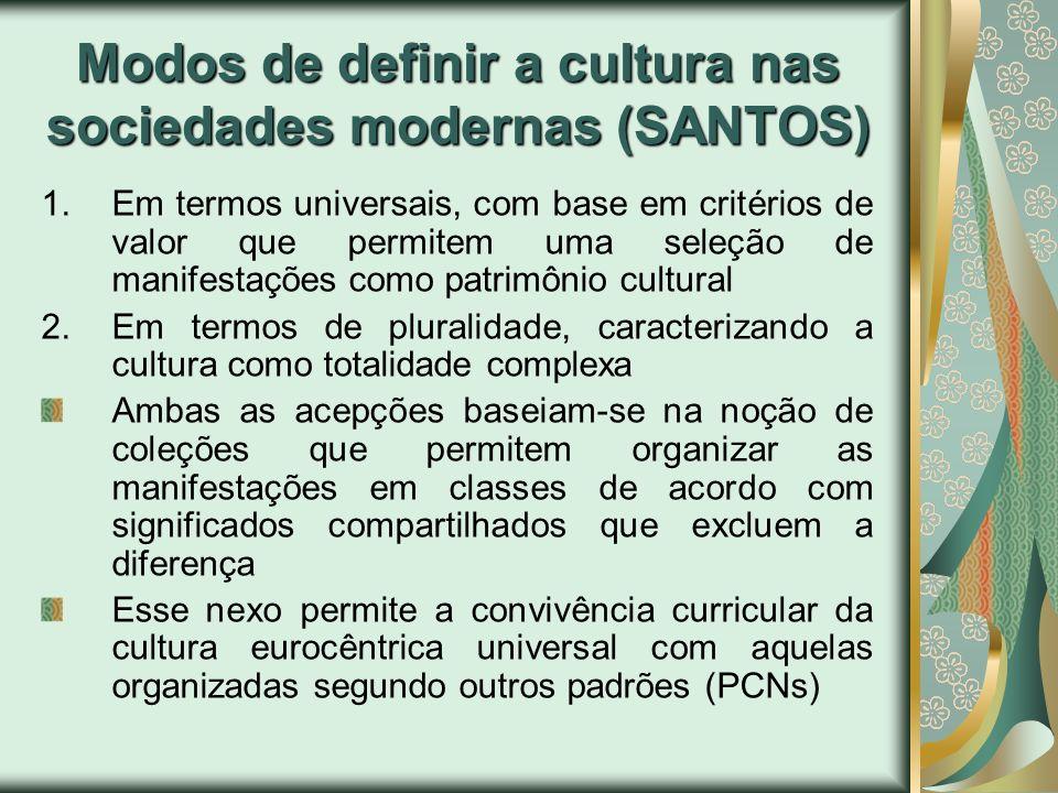 Modos de definir a cultura nas sociedades modernas (SANTOS) 1.Em termos universais, com base em critérios de valor que permitem uma seleção de manifes