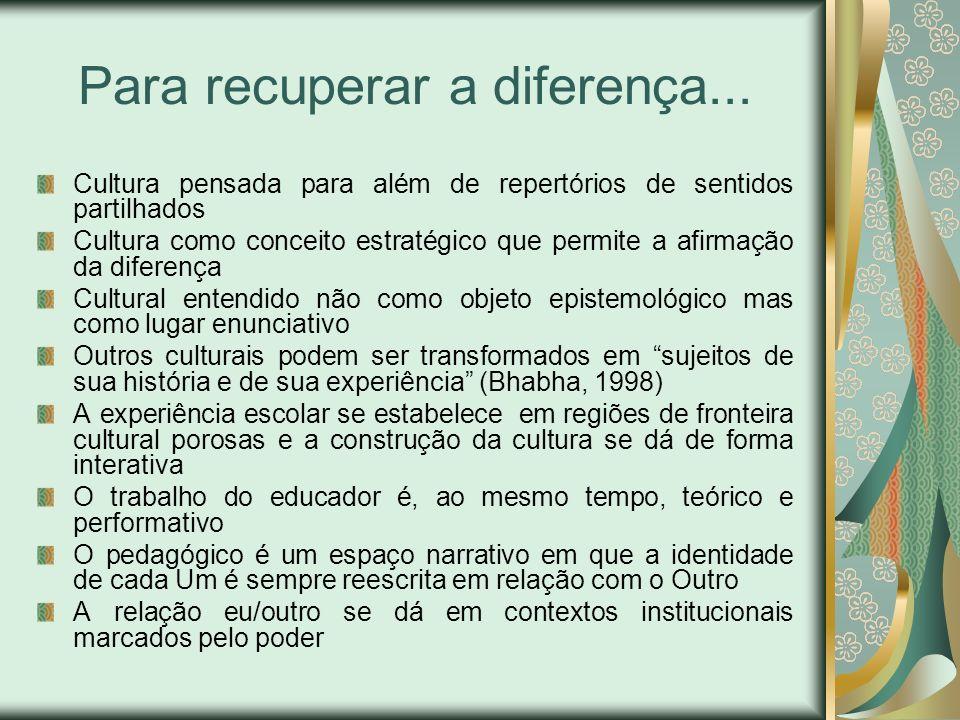Para recuperar a diferença... Cultura pensada para além de repertórios de sentidos partilhados Cultura como conceito estratégico que permite a afirmaç