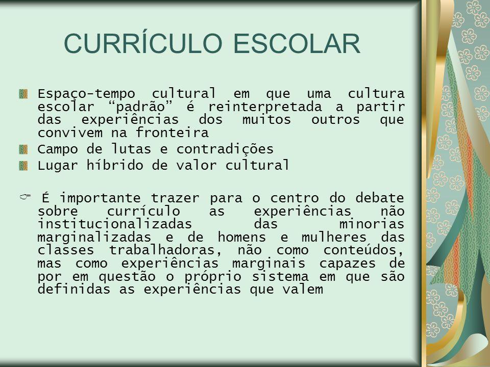CURRÍCULO ESCOLAR Espaço-tempo cultural em que uma cultura escolar padrão é reinterpretada a partir das experiências dos muitos outros que convivem na