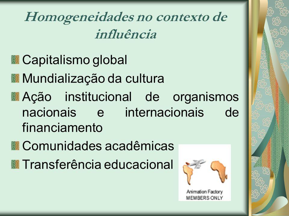 Homogeneidades no contexto de influência Capitalismo global Mundialização da cultura Ação institucional de organismos nacionais e internacionais de fi