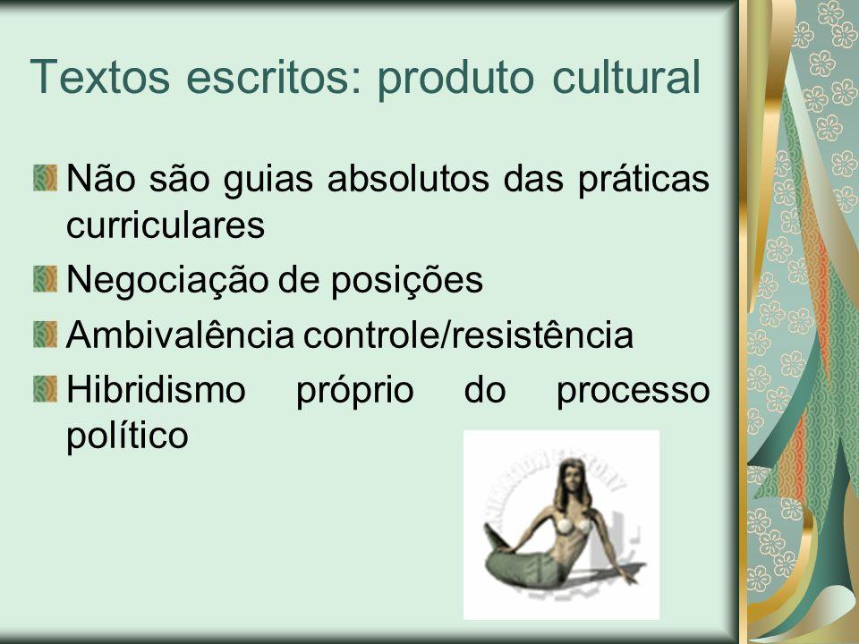Textos escritos: produto cultural Não são guias absolutos das práticas curriculares Negociação de posições Ambivalência controle/resistência Hibridism