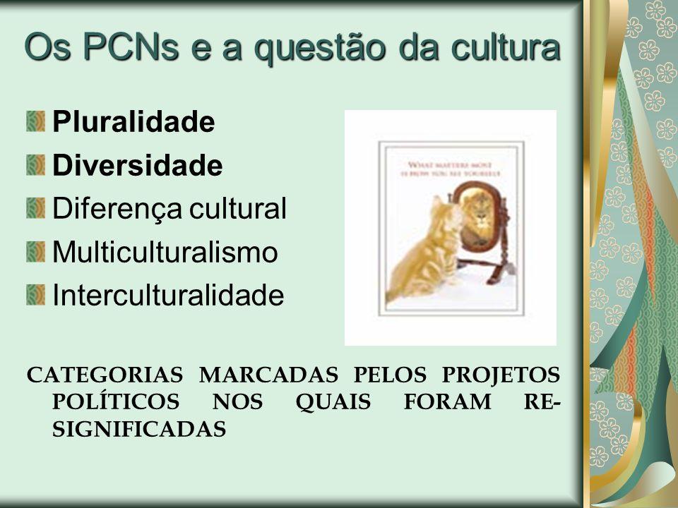 Os PCNs e a questão da cultura Pluralidade Diversidade Diferença cultural Multiculturalismo Interculturalidade CATEGORIAS MARCADAS PELOS PROJETOS POLÍ