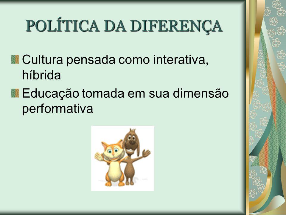 POLÍTICA DA DIFERENÇA Cultura pensada como interativa, híbrida Educação tomada em sua dimensão performativa