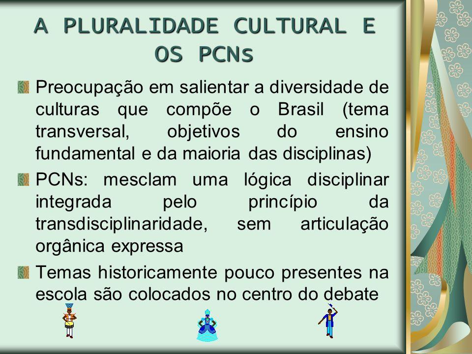 A PLURALIDADE CULTURAL E OS PCNs Preocupação em salientar a diversidade de culturas que compõe o Brasil (tema transversal, objetivos do ensino fundame