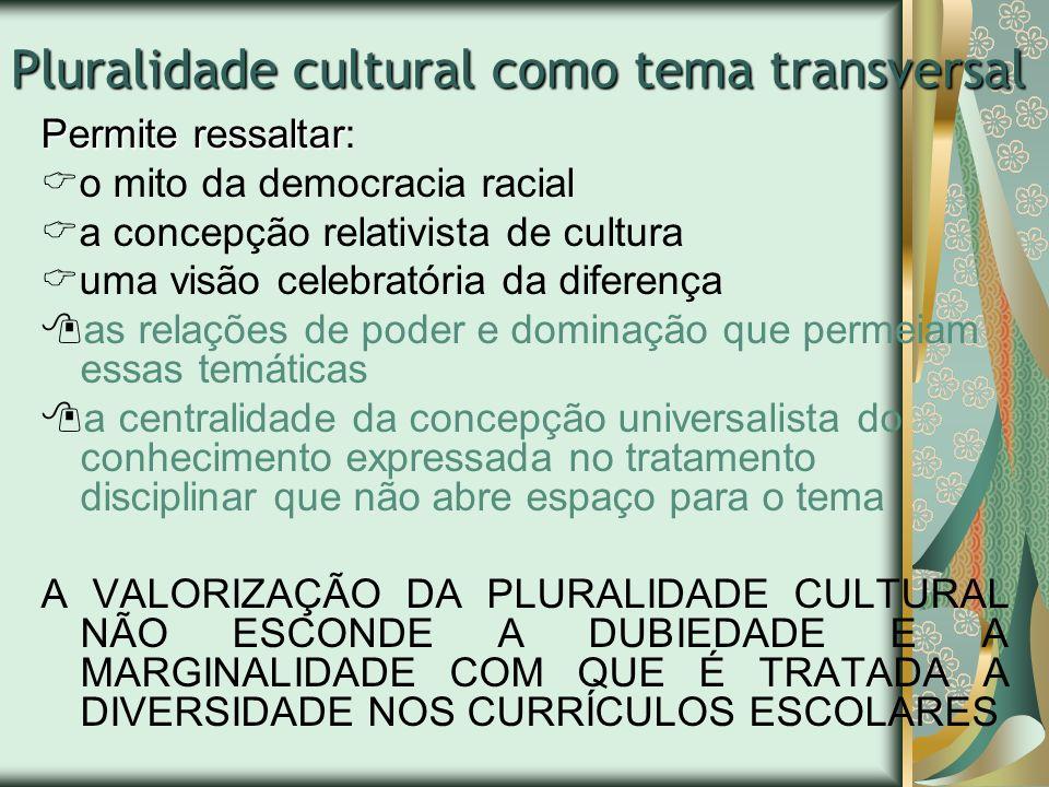Pluralidade cultural como tema transversal Permite ressaltar Permite ressaltar: o mito da democracia racial a concepção relativista de cultura uma vis