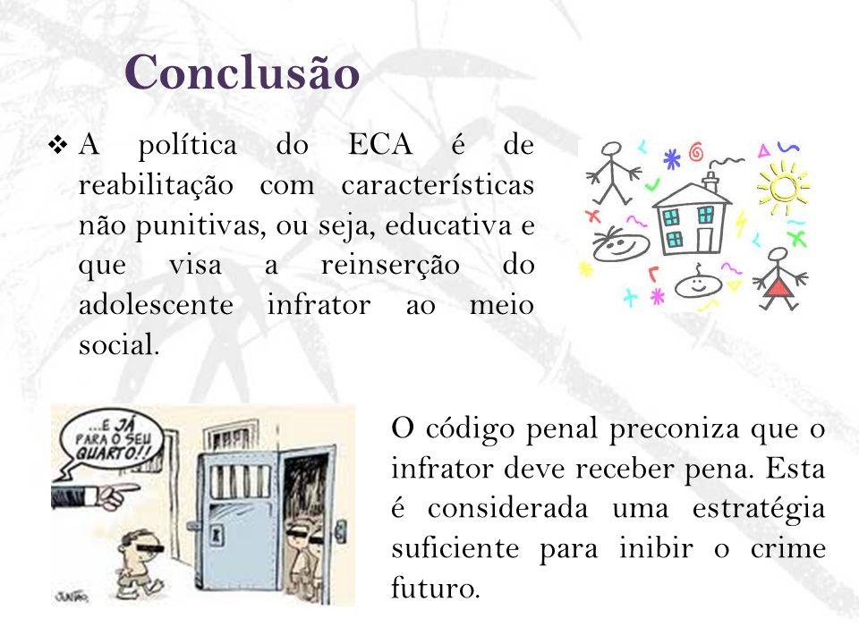 Conclusão A política do ECA é de reabilitação com características não punitivas, ou seja, educativa e que visa a reinserção do adolescente infrator ao