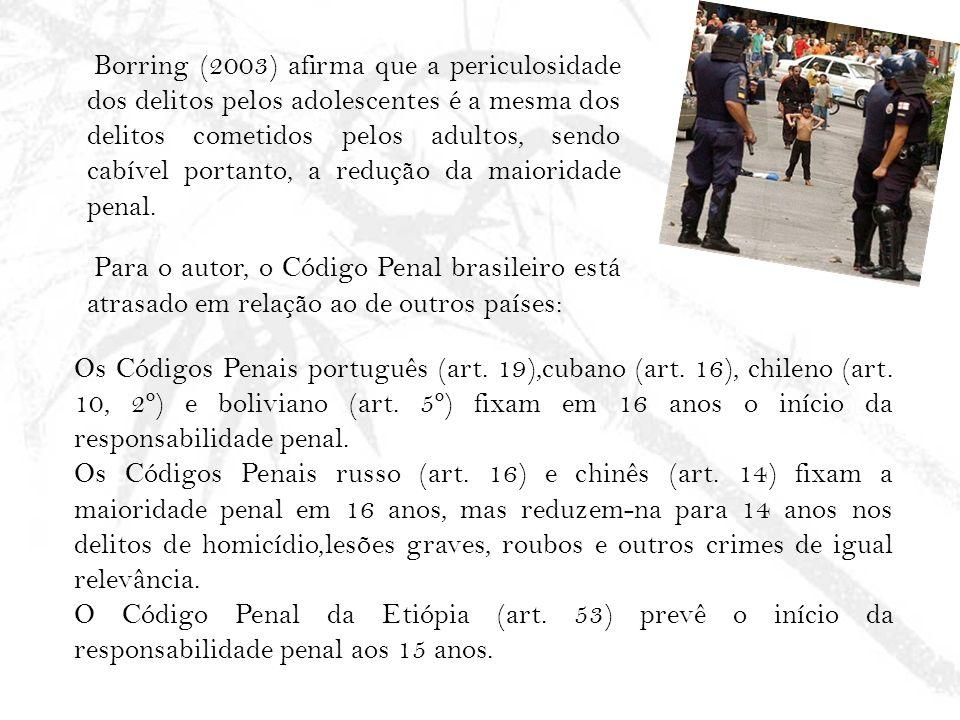 Borring (2003) afirma que a periculosidade dos delitos pelos adolescentes é a mesma dos delitos cometidos pelos adultos, sendo cabível portanto, a red