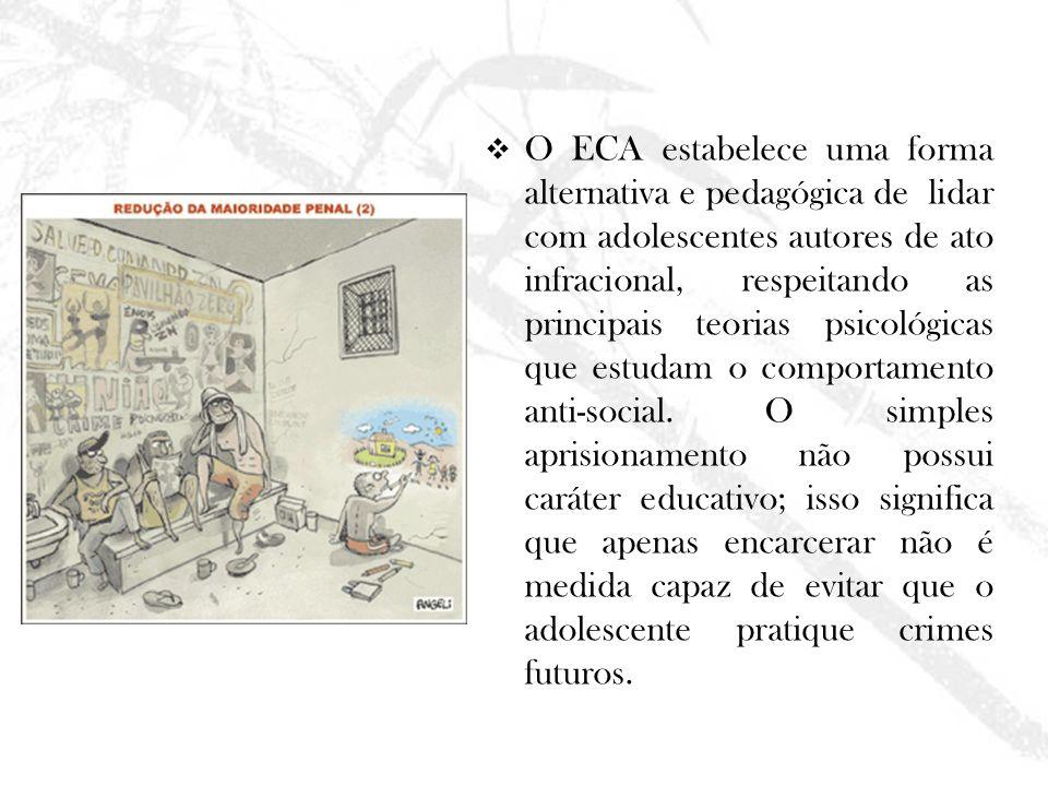 O ECA estabelece uma forma alternativa e pedagógica de lidar com adolescentes autores de ato infracional, respeitando as principais teorias psicológic