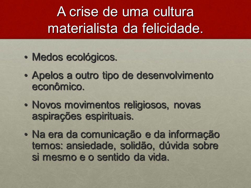 A crise de uma cultura materialista da felicidade. Medos ecológicos. Medos ecológicos. Apelos a outro tipo de desenvolvimento econômico. Apelos a outr