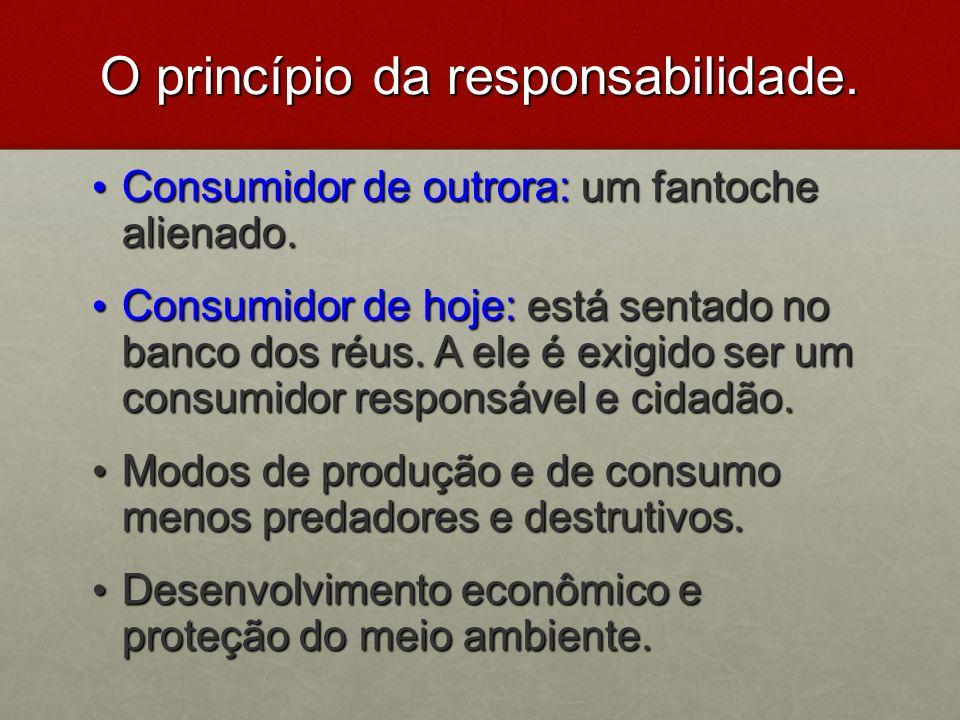 O princípio da responsabilidade. Consumidor de outrora: um fantoche alienado. Consumidor de outrora: um fantoche alienado. Consumidor de hoje: está se