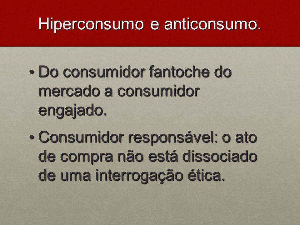 Hiperconsumo e anticonsumo. Do consumidor fantoche do mercado a consumidor engajado. Do consumidor fantoche do mercado a consumidor engajado. Consumid