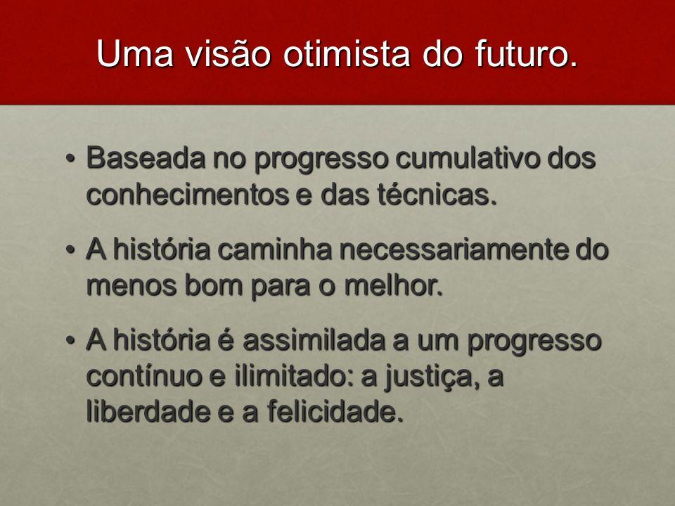 Uma visão otimista do futuro. Baseada no progresso cumulativo dos conhecimentos e das técnicas. Baseada no progresso cumulativo dos conhecimentos e da