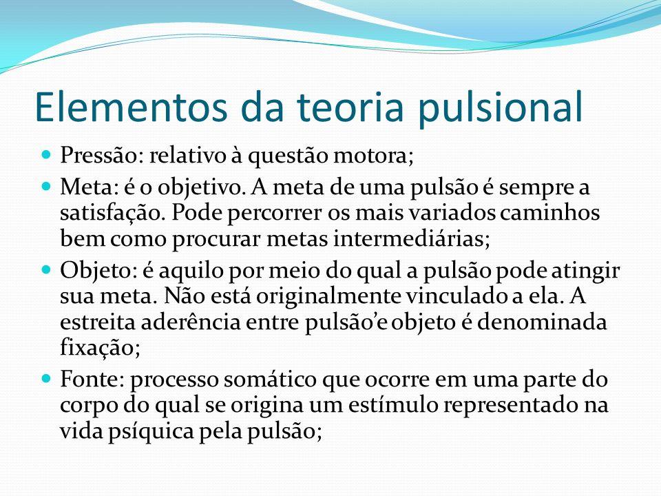 Elementos da teoria pulsional Pressão: relativo à questão motora; Meta: é o objetivo. A meta de uma pulsão é sempre a satisfação. Pode percorrer os ma