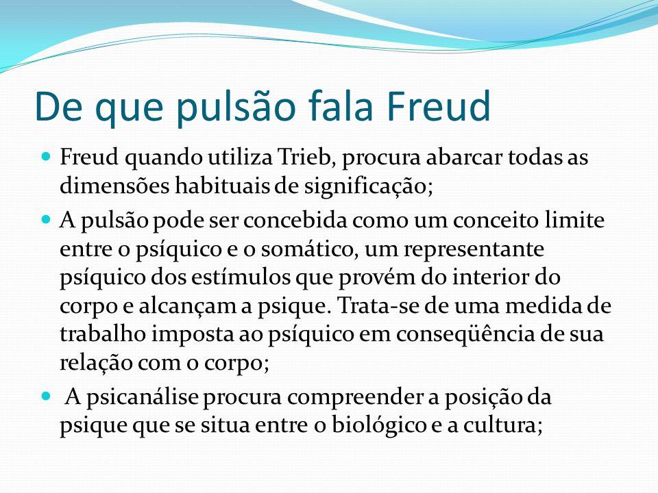 De que pulsão fala Freud Freud quando utiliza Trieb, procura abarcar todas as dimensões habituais de significação; A pulsão pode ser concebida como um