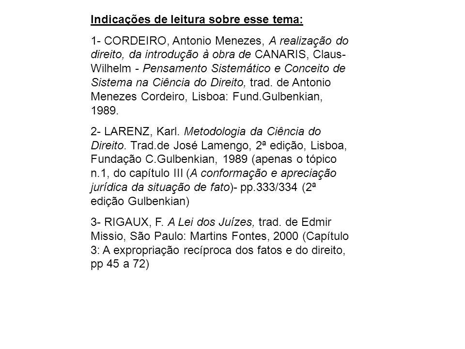 Indicações de leitura sobre esse tema: 1- CORDEIRO, Antonio Menezes, A realização do direito, da introdução à obra de CANARIS, Claus- Wilhelm - Pensam