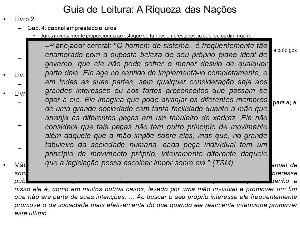 Guia de Leitura: A Riqueza das Nações Livro 2 –Cap. 4: capital emprestado a juros Juros inversamente proporcionais ao estoque de fundos emprestados, j