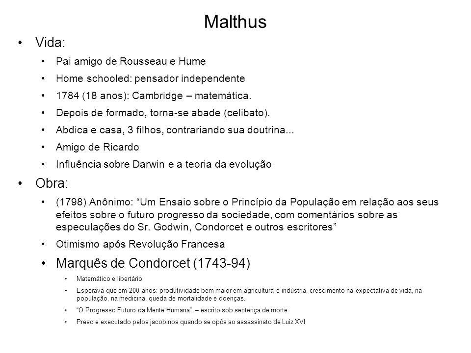 Malthus Vida: Pai amigo de Rousseau e Hume Home schooled: pensador independente 1784 (18 anos): Cambridge – matemática. Depois de formado, torna-se ab