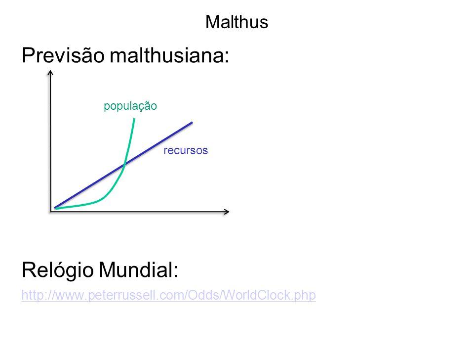 Malthus Previsão malthusiana: Relógio Mundial: http://www.peterrussell.com/Odds/WorldClock.php população recursos