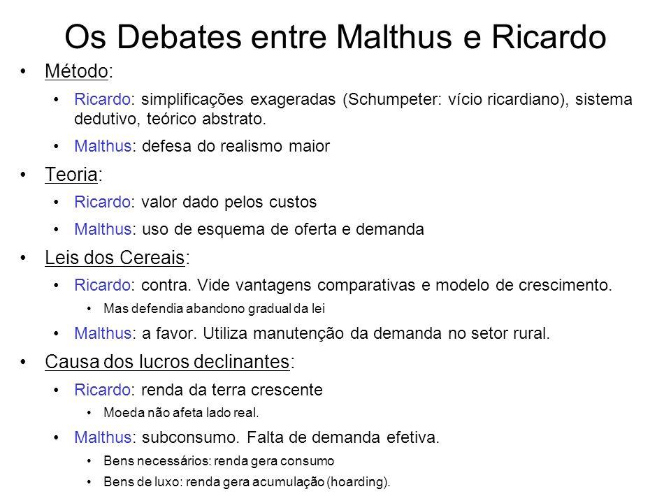Os Debates entre Malthus e Ricardo Método: Ricardo: simplificações exageradas (Schumpeter: vício ricardiano), sistema dedutivo, teórico abstrato. Malt