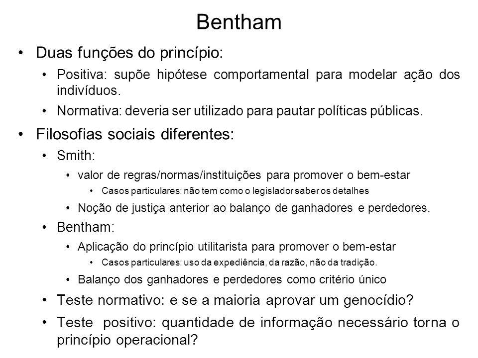 Bentham Duas funções do princípio: Positiva: supõe hipótese comportamental para modelar ação dos indivíduos. Normativa: deveria ser utilizado para pau