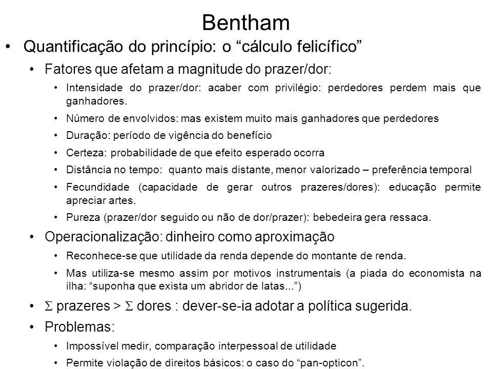 Bentham Quantificação do princípio: o cálculo felicífico Fatores que afetam a magnitude do prazer/dor: Intensidade do prazer/dor: acaber com privilégi