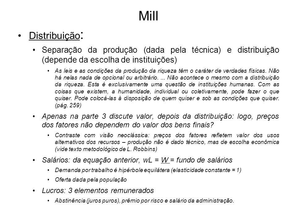 Mill Distribuição : Separação da produção (dada pela técnica) e distribuição (depende da escolha de instituições) As leis e as condições da produção d