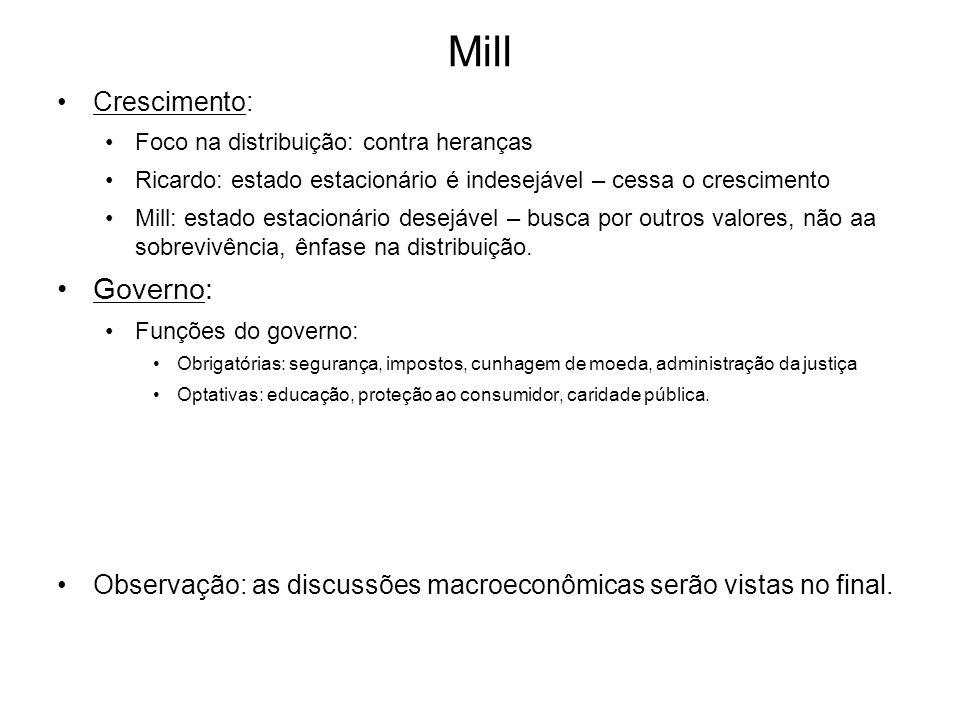 Mill Crescimento: Foco na distribuição: contra heranças Ricardo: estado estacionário é indesejável – cessa o crescimento Mill: estado estacionário des