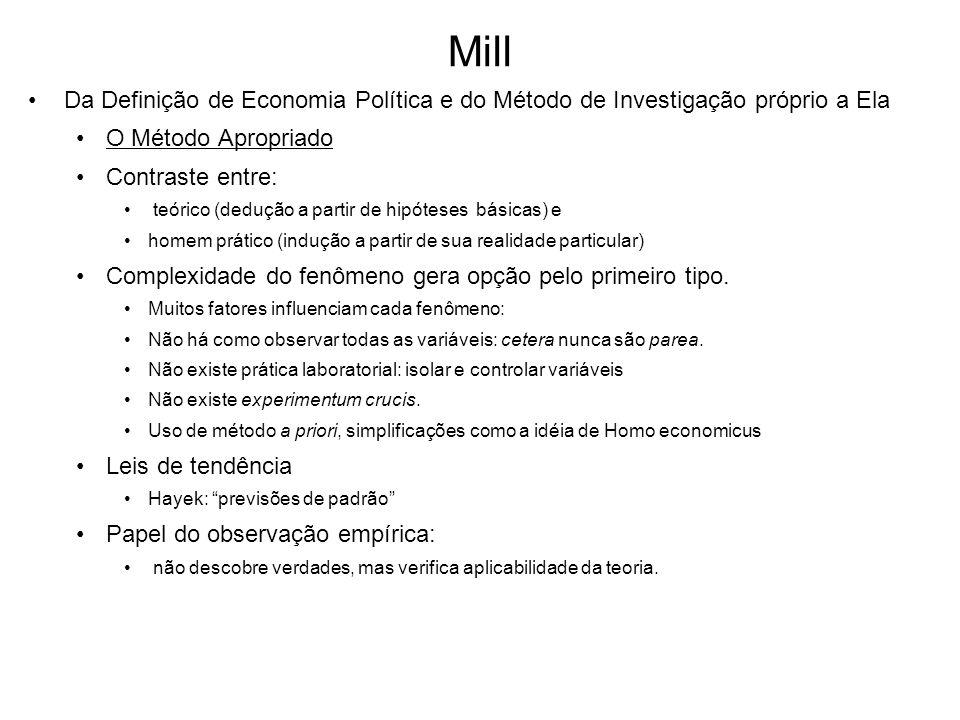 Mill Da Definição de Economia Política e do Método de Investigação próprio a Ela O Método Apropriado Contraste entre: teórico (dedução a partir de hip