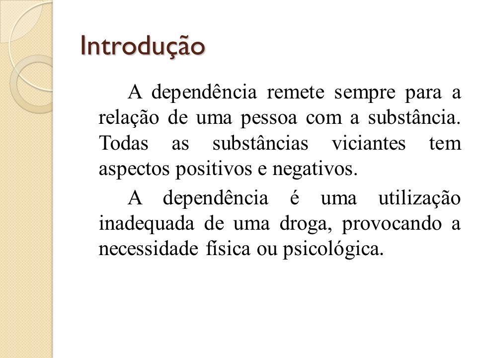 Introdução A dependência remete sempre para a relação de uma pessoa com a substância. Todas as substâncias viciantes tem aspectos positivos e negativo