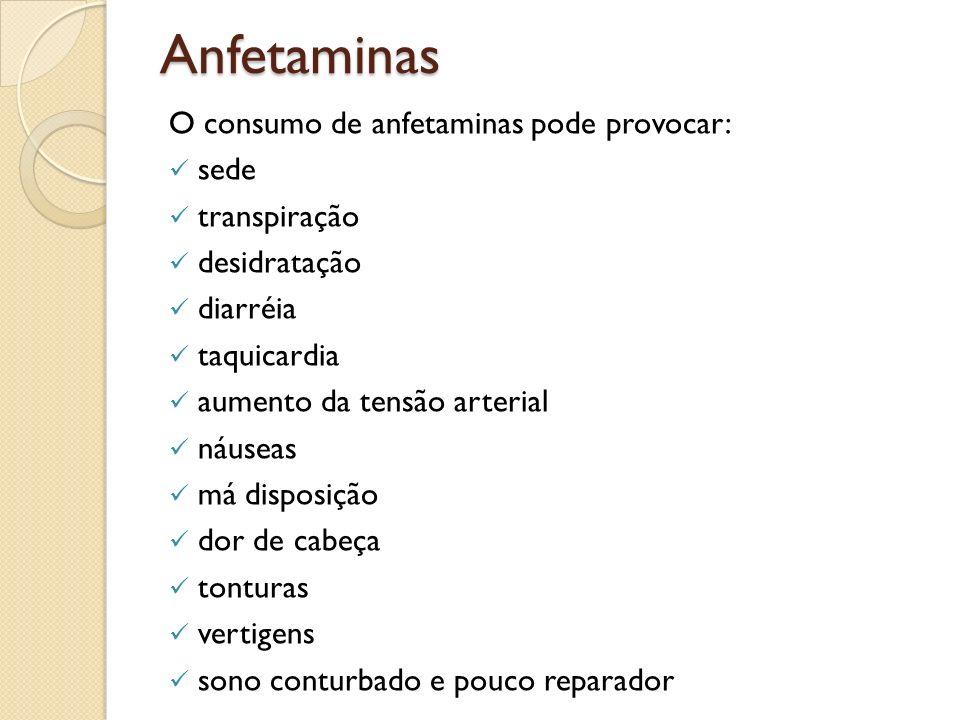 Anfetaminas O consumo de anfetaminas pode provocar: sede transpiração desidratação diarréia taquicardia aumento da tensão arterial náuseas má disposiç