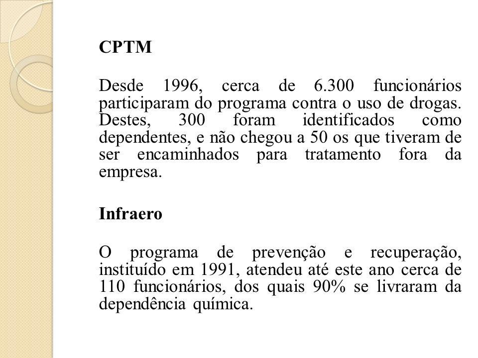 CPTM Desde 1996, cerca de 6.300 funcionários participaram do programa contra o uso de drogas. Destes, 300 foram identificados como dependentes, e não