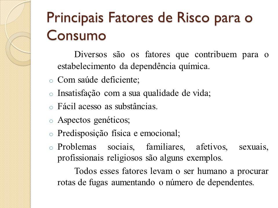 Principais Fatores de Risco para o Consumo Diversos são os fatores que contribuem para o estabelecimento da dependência química. o Com saúde deficient