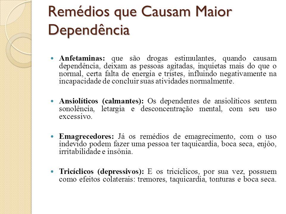 Remédios que Causam Maior Dependência Anfetaminas: que são drogas estimulantes, quando causam dependência, deixam as pessoas agitadas, inquietas mais