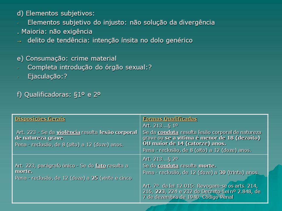 d) Elementos subjetivos: - Elementos subjetivo do injusto: não solução da divergência. Maioria: não exigência delito de tendência: intenção ínsita no