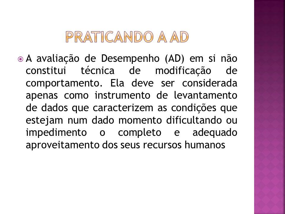 A avaliação de Desempenho (AD) em si não constitui técnica de modificação de comportamento. Ela deve ser considerada apenas como instrumento de levant