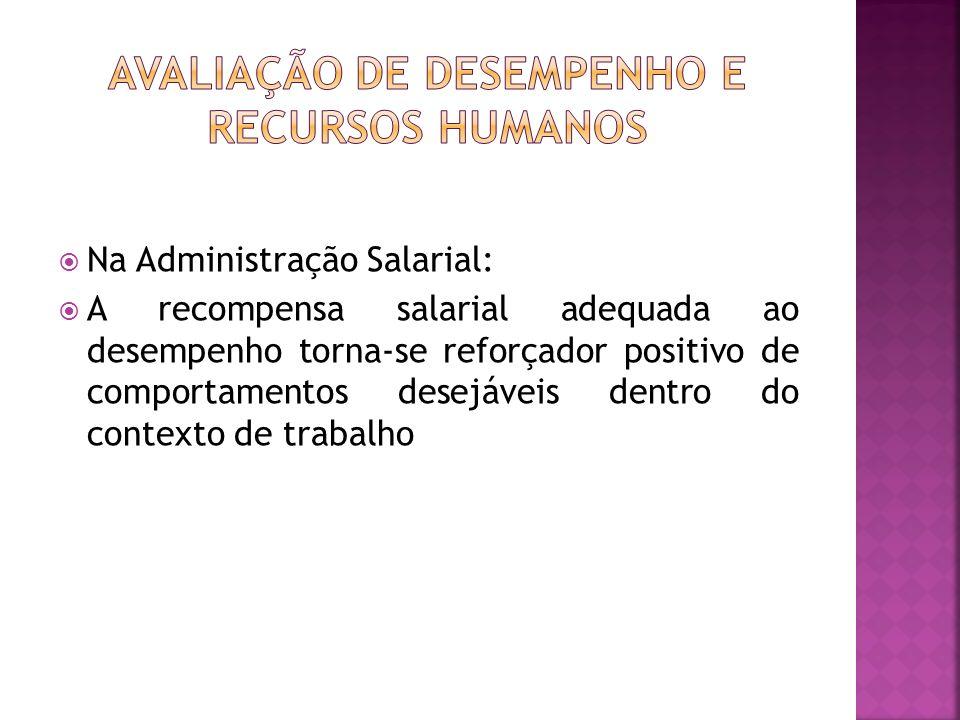 Na Administração Salarial: A recompensa salarial adequada ao desempenho torna-se reforçador positivo de comportamentos desejáveis dentro do contexto d
