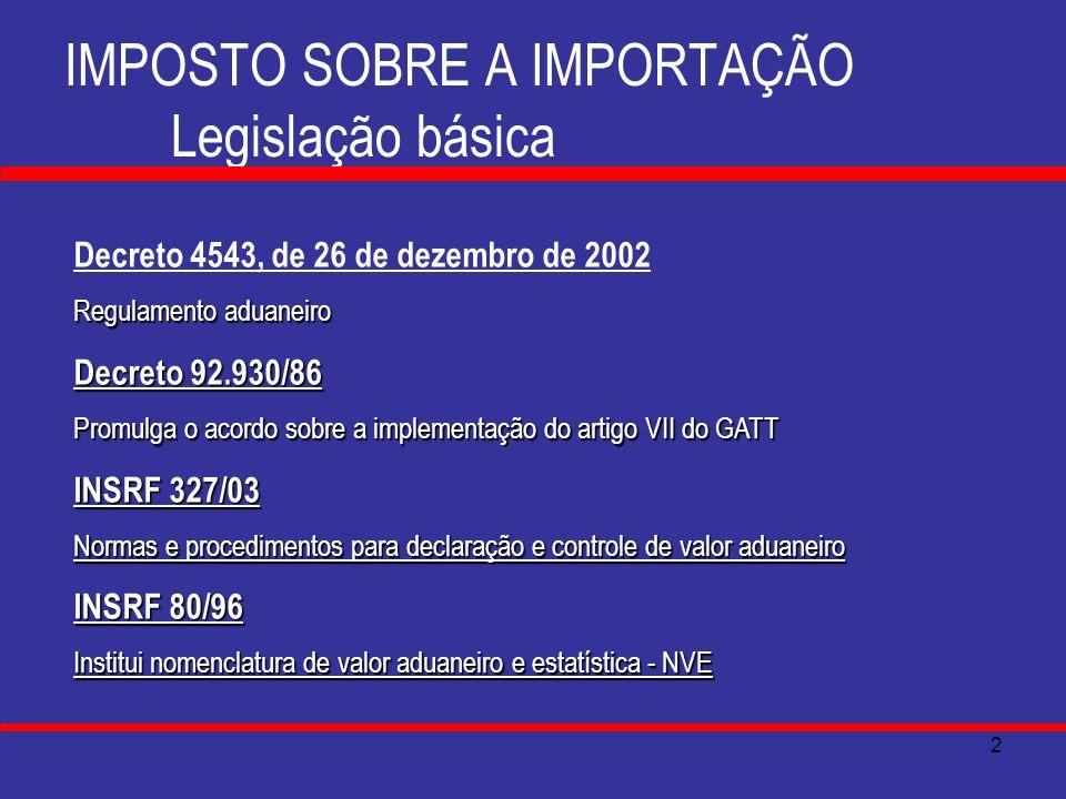 3 IMPOSTO SOBRE A IMPORTAÇÃO A regra-matriz de incidência O critério material da hipótese de incidência Importar Produtos Estrangeiros ( CF., art.