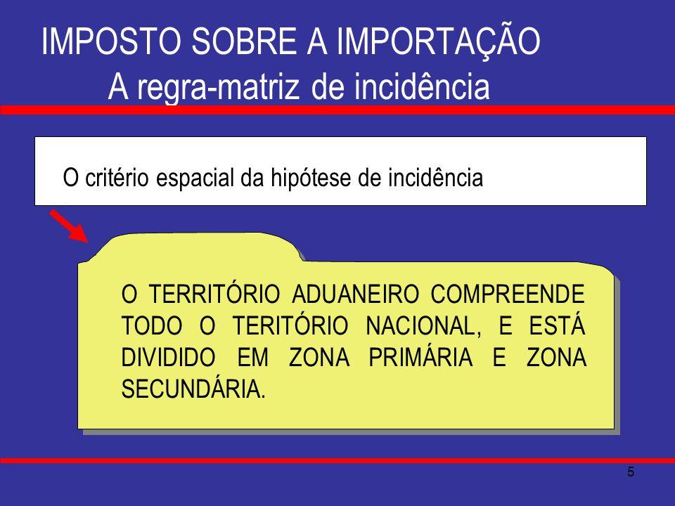 6 IMPOSTO SOBRE A IMPORTAÇÃO A regra-matriz de incidência O critério espacial da hipótese de incidência TERRITÓRIO ADUANEIRO ZONA PRIMÁRIA ÁREA TERRESTRE OU AQUÁTICA, NOS PORTOS ALFANDEGADOS ÁREA TERRESTRE, NOS AEROPORTOS ALFANDEGADOS ÁREA TERRESTRE NOS PONTOS DE FRONTEIRA ALFANDEGADOS TERRITÓRIO ADUANEIRO ZONA SECUNDÁRIA A PARTE RESTANTE DO TERRITÓRIO ADUANEIRO: AGUAS TERRITORIAIS ESPAÇO AÉREO