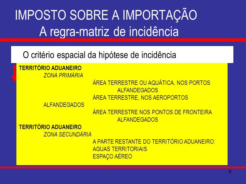 7 IMPOSTO SOBRE A IMPORTAÇÃO A regra-matriz de incidência O critério subjetivo do prescritor SUJEITO ATIVO A UNIÃO CF., ART.