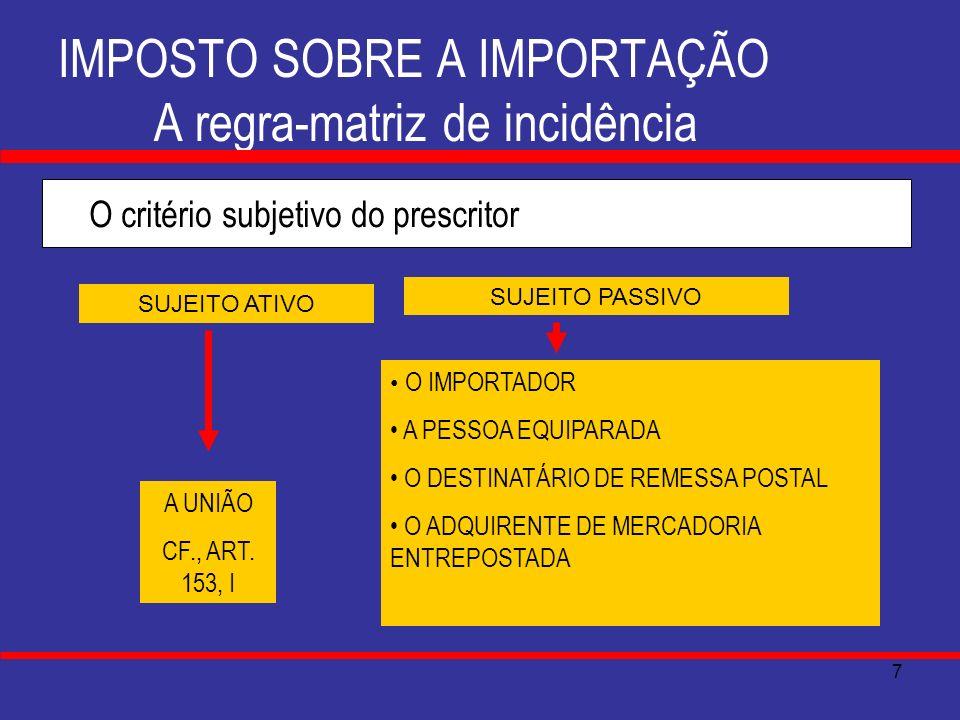 8 IMPOSTO SOBRE A IMPORTAÇÃO A regra-matriz de incidência O critério quantificativo do prescritor BASE DE CÁLCULO: Alíquota específica : a quantidade de mercadoria, expressa na unidade de medida indicada na Tarifa Aduaneira do Brasil(TAB).